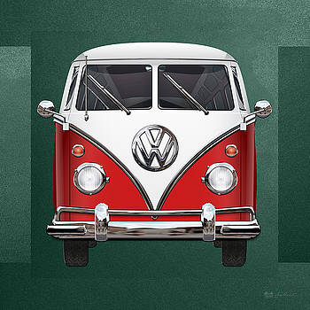 Serge Averbukh - Volkswagen Type 2 - Red and White Volkswagen T 1 Samba Bus over Green Canvas