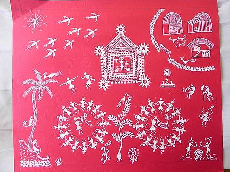 Warli painting Indian tribal art by Janhavi Firke