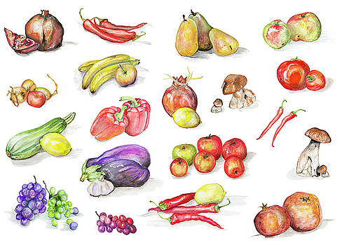 Watercolor fruits and vegetables set by Aleksandr Volkov