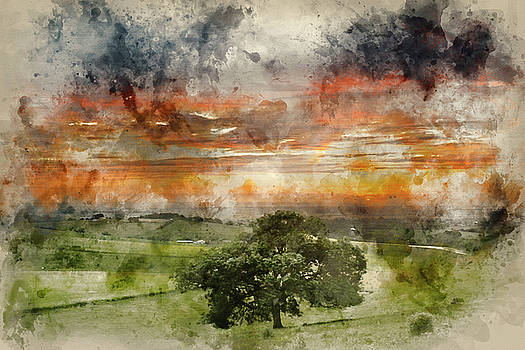 Watercolor painting of Beautiful Summer sunset landscape Steynin by Matthew Gibson