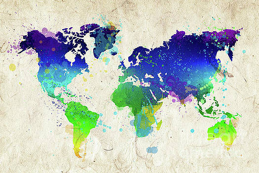 Watercolor world map by Delphimages Photo Creations