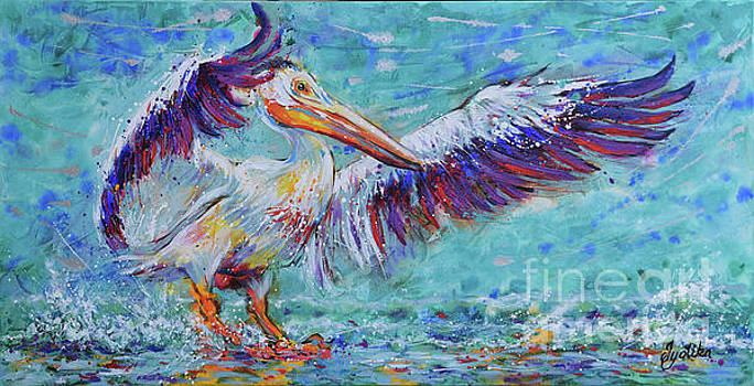 White Pelican Splendid Landing by Jyotika Shroff