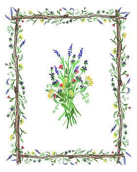 Wild Flowers Decorative Watercolor by Irina Sztukowski