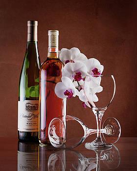 Tom Mc Nemar - Wine and Orchids Still Life
