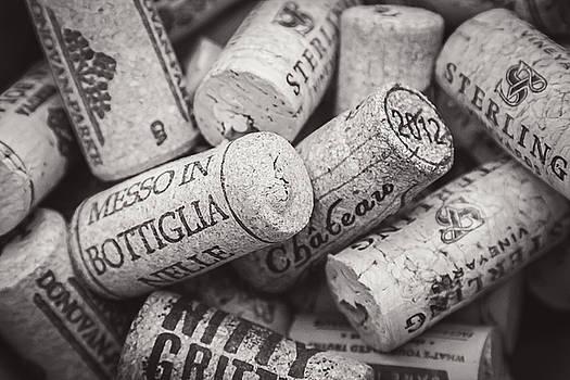 Wine Corks Black and White by April Reppucci