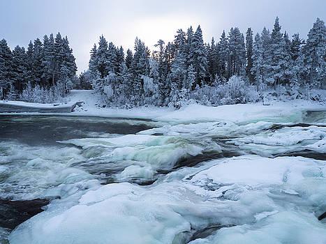 winter waterfall Storforsen by Tamara Sushko