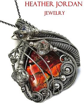 Wire-Wrapped Dragon Skin Ammolite Pendant in Antiqued Sterling Silver with Herkimer Diamonds by Heather Jordan