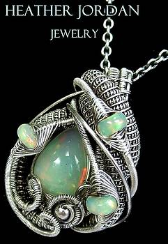 Wire-Wrapped Ethiopian Welo Opal Pendant Necklace in Tarnish-Resistant, Antiqued Sterling Silver by Heather Jordan
