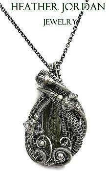 Wire-Wrapped Moldavite Pendant in Antiqued Sterling Silver with Herkimer Diamonds by Heather Jordan