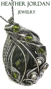 Wire-Wrapped Moldavite Pendant in Antiqued Sterling Silver with Peridot by Heather Jordan