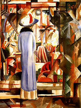 August Macke - Woman In Front Of A Large Illuminated Window