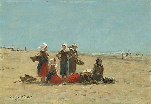 Women On The Beach At Berck by Eugene Boudin