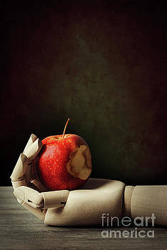 Wooden Hand With Apple by Amanda Elwell