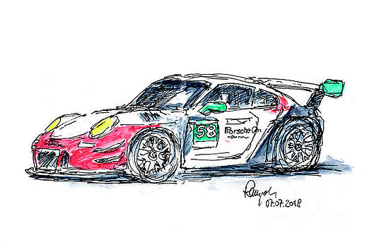 Frank Ramspott - Wright Motorsports Porsche 911 GT3 R Ink Drawing and Watercolor