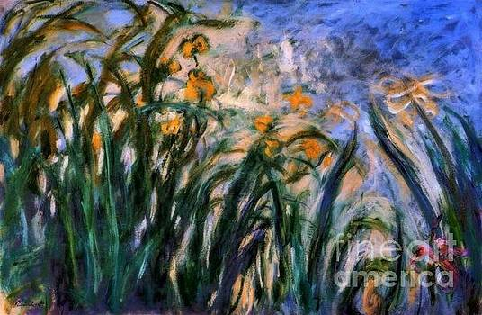 Monet - Yellow Irises and Malva
