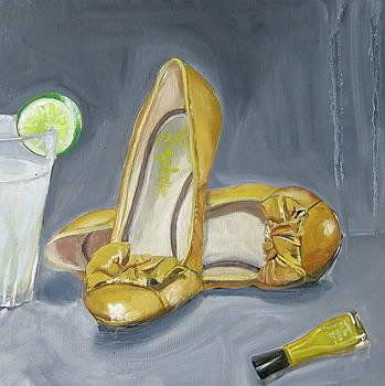 Yellow shoes yellow nail paint and lemonade by Mohita Bhatnagar