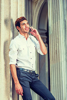 Alexander Image - Young American Businessman Calling outside in New York