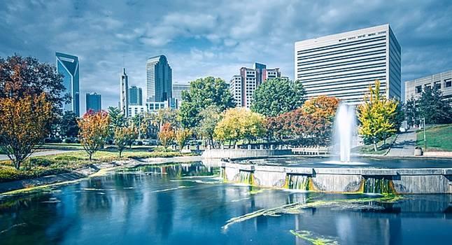 Charlotte North carolina cityscape during autumn season by Alex Grichenko