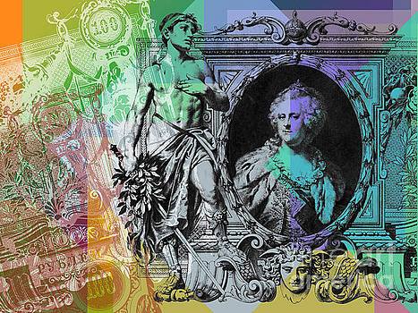 100 Ruble banknote Pop Art collage #2 by Jean luc Comperat