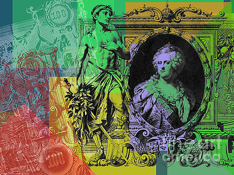 100 ruble bill Pop Art collage #4 by Jean luc Comperat