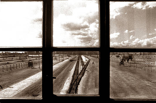 Old film picture of Auschwitz the nazi concentration camp Poland by Eduardo Huelin