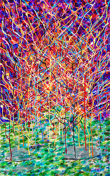 14-23 Complex Green Purple Trees by Patrick OLeary