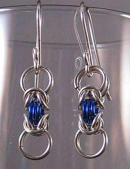 Dianne Brooks - 1423 Silver Blue Byz Earrings