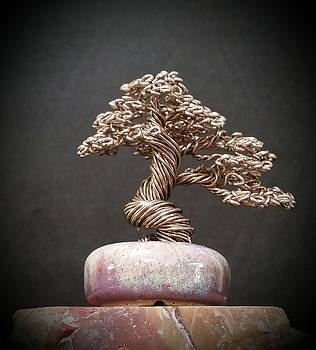 #144 Pewter wire tree sculpture by Ricks Tree Art
