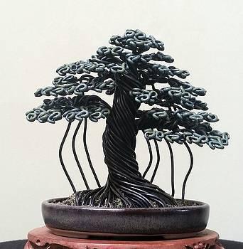 #148 Banyan style wire tree sculpture by Ricks Tree Art