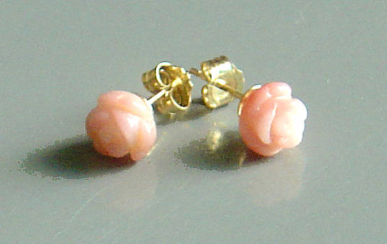 14K Gold Coral Rose Earrings by Robin Copper