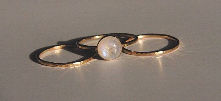14K gold filled stack stacking stackable moonstone rings set of 3 sizes 4 5 6 7 8 9 10 by Nadina Giurgiu