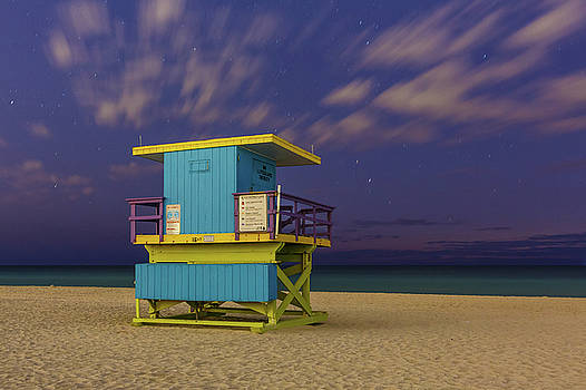 15th Street Lifeguard Tower at Twilight by Claudia Domenig