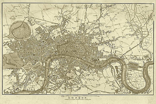 Toby McGuire - 1800s London Map Sepia London England