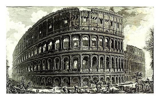 1810 Italian etching of the ruins of the roman colosseum francesco piranesi by Peter Gumaer Ogden