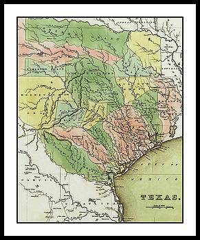 Peter Ogden - 1838 Colonial Pioneer T G Bradford Map of Texas Showing the Austin Colony