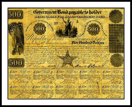 Peter Ogden - 1841 Texas Bond Signed by David G Burnet President of the Republic of Texas