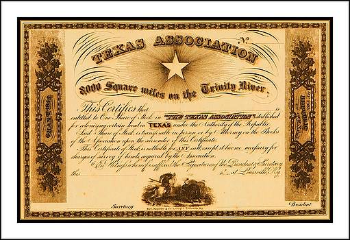 Peter Ogden - 1844 Texas Association Stock Certificate for Pioneer Emigration to the Mercer Colony