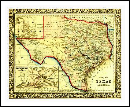 Peter Gumaer Ogden - 1860 Civil War Era County Map of Indian Territories Texas and Galveston Bay