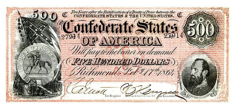 1864 Confederate States of America 500 Dollar Bill with Stonewall Jackson Portrait by Peter Gumaer Ogden
