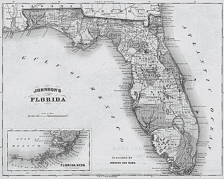 Toby McGuire - 1864 Florida Map Black and White