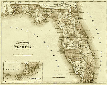 Toby McGuire - 1864 Florida Map Sepia