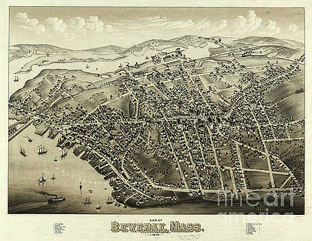 1879 Aerial Map of Beverly Massachusetts by OH Bailey and Co