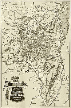 Toby McGuire - 1880 Map of the Adirondacks Railroad Upstate New York Sepia