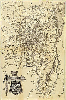 Toby McGuire - 1880 Map of the Adirondacks Railroad Upstate New York