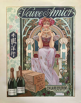 1890s Original French Art Nouveau Champagne Poster, Veuve Amiot by Unknown