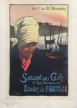 1890s Original French Art Nouveau Maitre de L'Affiche Poster, Salon des Cents - Gottlob, Plate 239 by R Gottlob