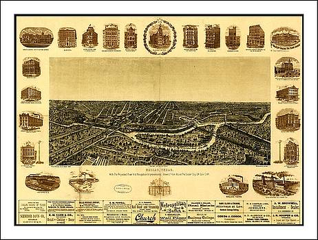 Peter Gumaer Ogden - 1892 Dallas Texas Panoramic Map with Border