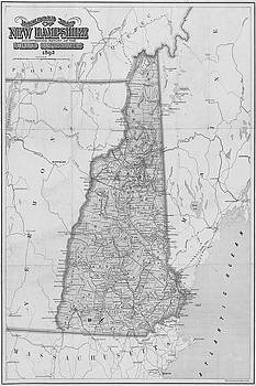Toby McGuire - 1892 Railroad Commissioners Map NH Black and White