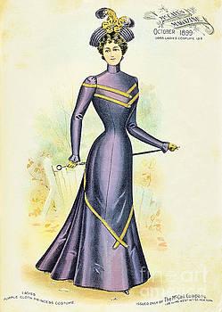 R Muirhead Art - 1899 Ladies Purple Cloth Princess Costume Mc Calls Magazine 1899 New York  Ladies Costume
