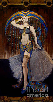 18x34 Peacock Dancer 2 by Dia T